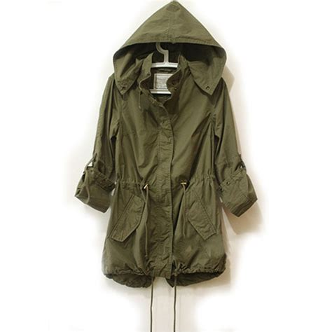 Jaket Parka Green Army Jaket Parka Jumbo Parka Cotton Premium us 2016 army green parka button trench hooded coat jacket