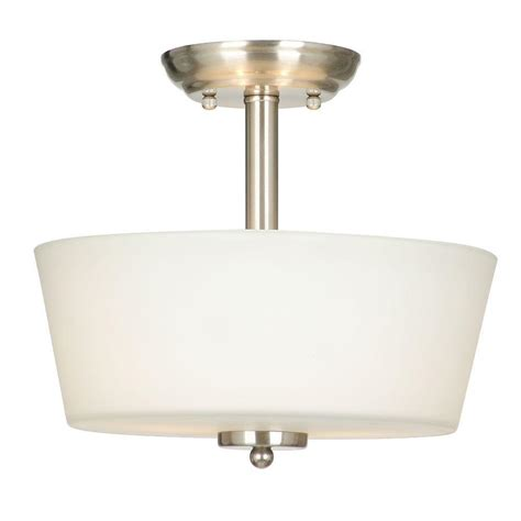 Hton Bay Sadie Collection 2 Light Satin Nickel Semi Home Depot Flush Mount Ceiling Lights