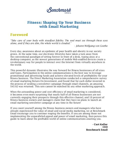 Introduction Letter For New Business Owner Email Marketing For Fitness Health