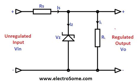 use of diodes in a circuit zener diode voltage regulator