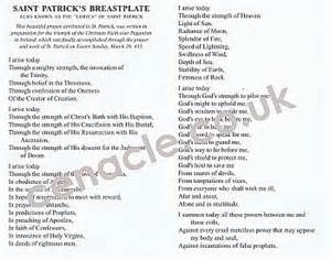 breastplate of prayer card x10 st patricks day seasonal and sacraments