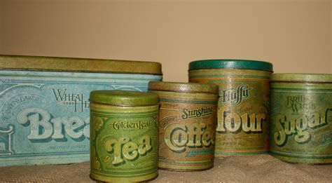 Vintage Metal Kitchen Canister Sets | vintage metal kitchen canisters set of 5 by nostalgicnesthome