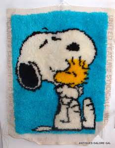 snoopy latch hook rug peanuts unfinished kit blue