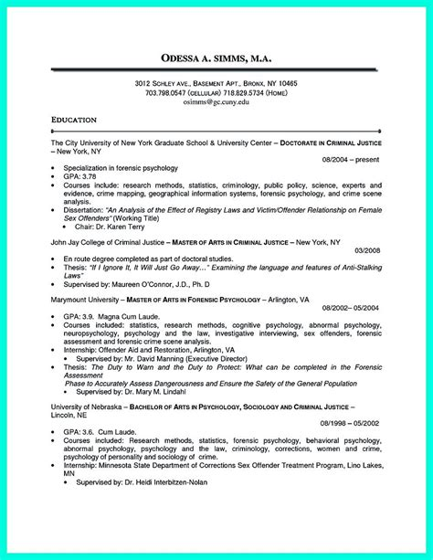 Criminal Justice Resume by Criminal Justice Resume Uses Summary Section Of The