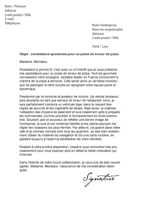 Exemple De Lettre De Motivation Transport Lettre De Motivation Livreur Pizza Mod 232 Le De Lettre