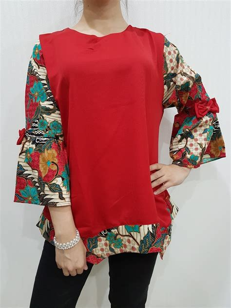 Atasan Wanita Katun Tenun Mix Renda atasan batik wanita modern el 200 merk nurenka baju fashion baju batik modern blouse batik