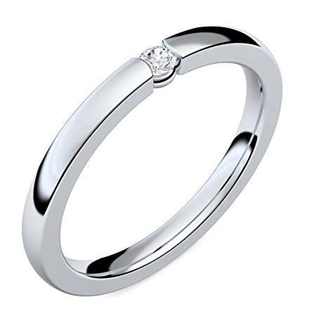 Preiswerte Verlobungsringe by Juwelier Rubin Eheringe Silber 17 Swarovski Kristalle