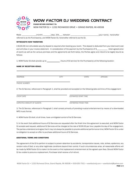 dj booking contract template 5 dj contract forms dj agreement equipment rental
