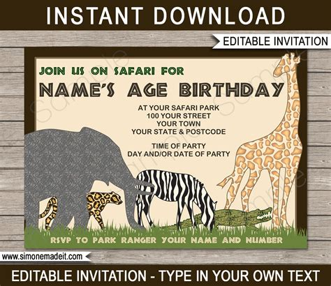 safari or zoo party invitations template birthday party