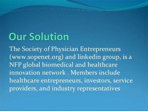 Mba Innovation And Entrepreneurship by The Society Of Physician Entrepreneurs Sope A Model For