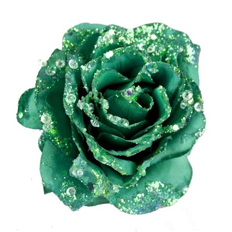 Artificial Silk Emerald Green emerald green silk sparkle clip 14cm
