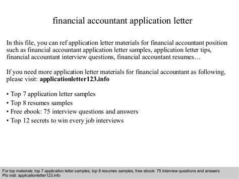 application letter financial accountant financial accountant application letter