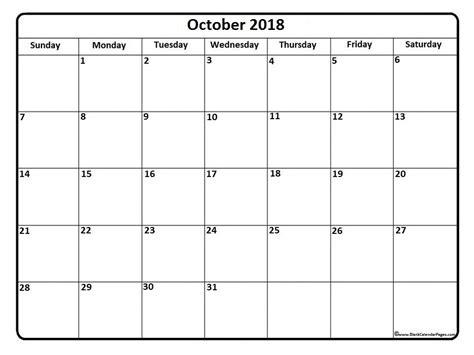 printable calendar 2018 october printable monthly calendar october 2018 larissanaestrada com