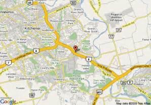 waterloo ontario canada map map of inn kitchener waterloo kitchener