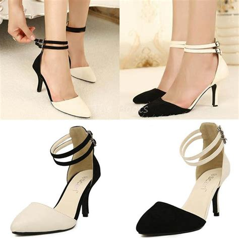 3 inch closed toe pointy black and white pumps beige