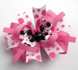 Handmade Hair Bows - minnie pink and white mouse boutique hair bow baby