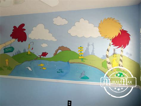 murals dr seuss cat in the hat and lorax nursery wall