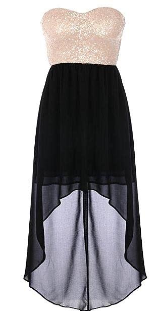 Dress Rajut No Iner stardust dress features a glittering pale sequin bodice flowing black chiffon