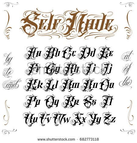 tattoo creator font old english old english tattoo lettering stock vector 682773118