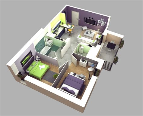 Two Bedroom House Plans | 2 bedroom apartment house plans