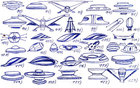 variety of ufo shapes and sizes 22 ships drawing by sofia