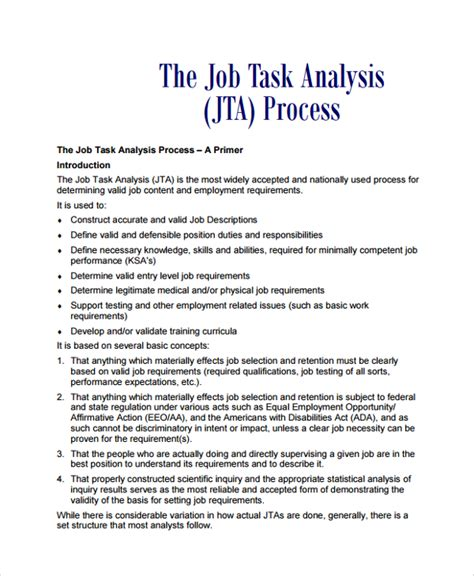 task analysis template sle task analysis 6 documents in pdf word