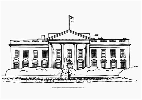 White House Home Page Coloring Usa Letmecolor