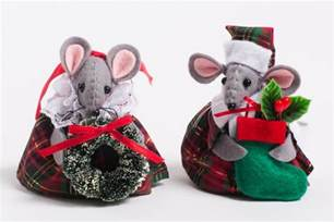 tartan mice tree decorations