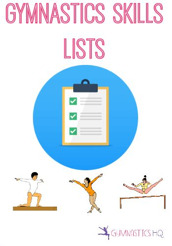 gymnastics skills event and level skill lists
