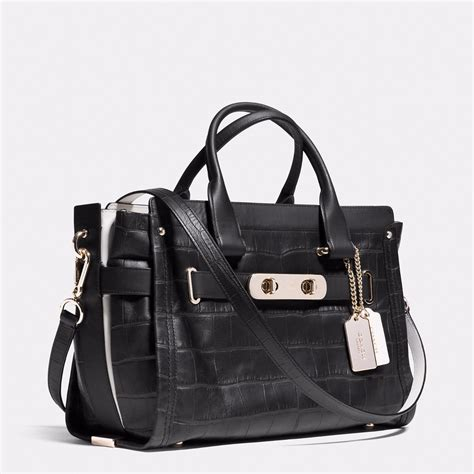 Coach Swagger Bag By Bagladies handbag coach black swagger carryall croc embossed leather