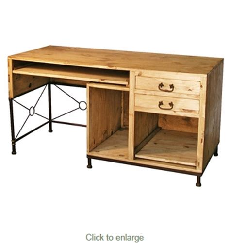 wrought iron computer desk rustic pine computer desk with iron accent mexican