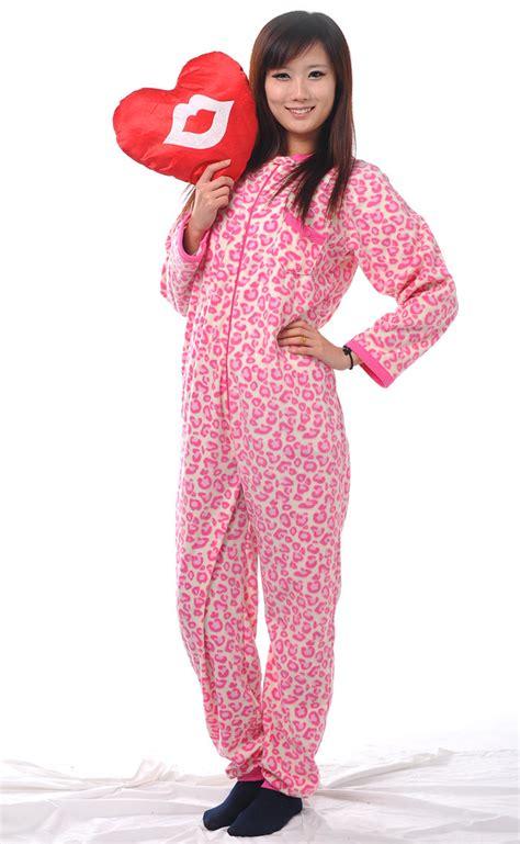 Pajamas Piyama Hk Pink unisex pink leopard pyjamas footed pajamas sleepsuit onesie sleepwear jumpsuit on
