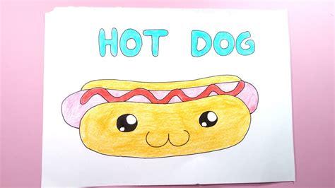 imagenes de kawaii de comida como dibujar pintar un hot dog kawaii facil comida kawaii