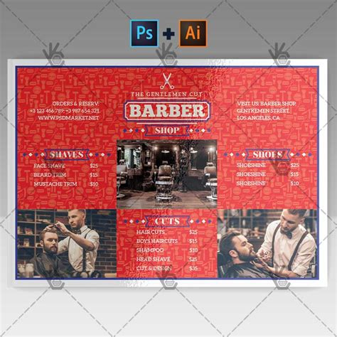 templates for a5 flyers barber shop premium a5 flyer psd ai template