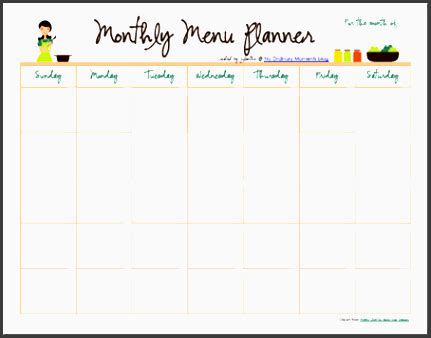 monthly meal planner template sampletemplatess