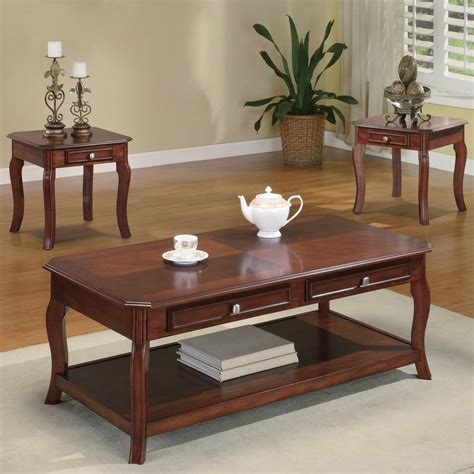 accent table set shop coaster fine furniture 3 piece brown cherry accent