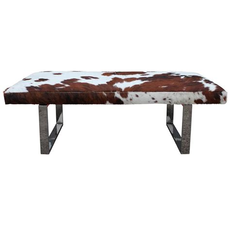 cowhide benches striking cowhide and chrome bench of ottoman at 1stdibs