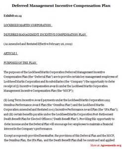 deferred management incentive compensation plan sample
