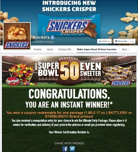 Snickers Super Bowl Sweepstakes - 21 best images about sweepstakes contests winnings on pinterest milwaukee james