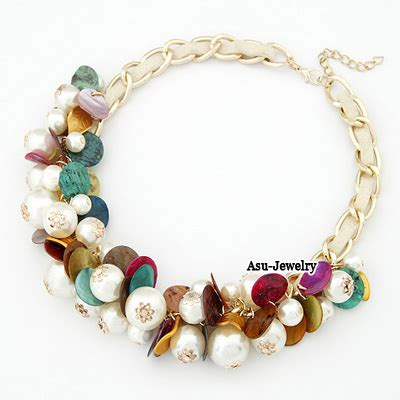 Kalung Korea Choker Pendant Decorated Hollw Out Weaving multicolour imitate pearl weave alloy bib necklaces asujewelry