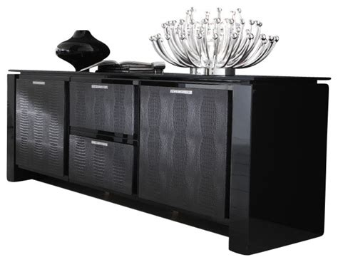 Rossetto Rossetto Diamond Buffet Black Lacquer Black Modern Buffet