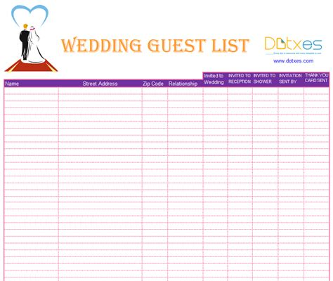 Blank Wedding Guest List Template Dotxes Printable Wedding Guest List Template
