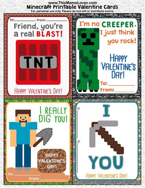 minecraft cards printable printable minecraft valentines this