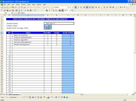 Gpa Calculator Excel Templates Excel Calculator Template