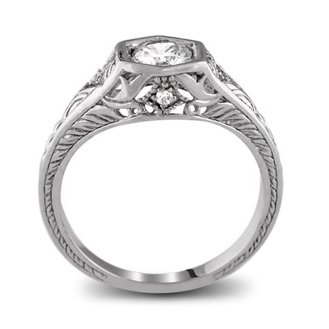 14k white gold antique filigree engagement ring