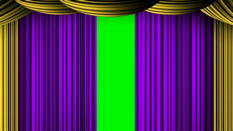 green screen curtain animated zooming purple golden curtain on green screen