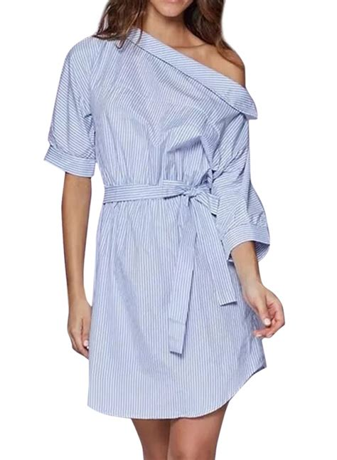 casual one shoulder striped shirt dress with belt