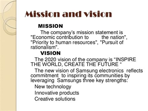 mission statement of samsung company samsung an introduction