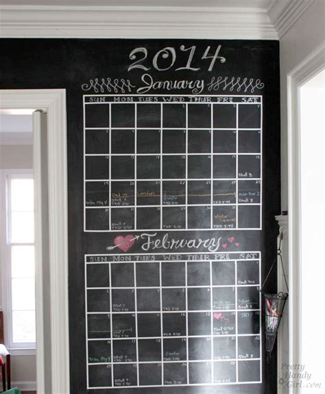 Chalkboard Wall Calendars Diy Chalkboard Calendar Pretty Handy