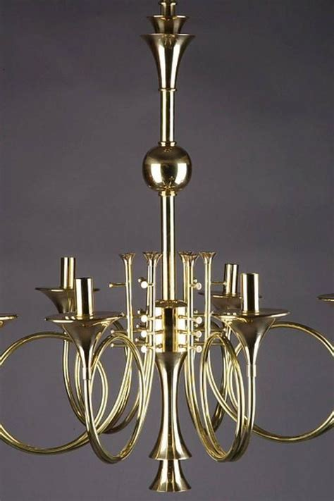 Stag Horn Chandelier 20th Century Six Hunting Horns Ceiling Candelabra For Sale